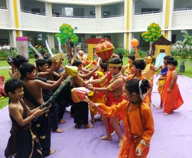 Ram Lila staged by the sudents of Classes I, II, III as a part of Diwali Celebration in the Assembly